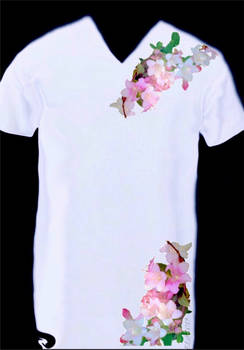 -flower on wh. t-shirt- by Gold-Angel