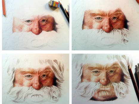 Color Pencil Drawing Bombur The Dwarf WIP 2