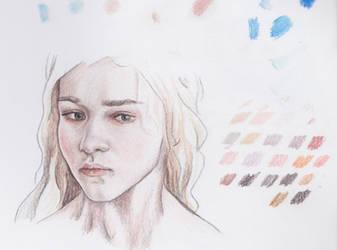 Daenerys Sketch Color Pencils by akdizzle