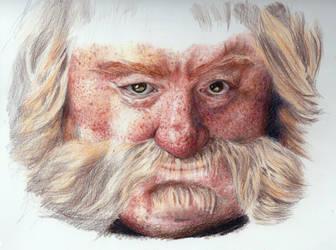 Bombur The Hobbit Color Pencil Drawing WIP by akdizzle