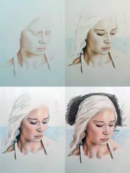 Daenerys Sketch Color Pencils WIP