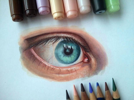 Blue Eye study - Copics Markers and Color Pencils