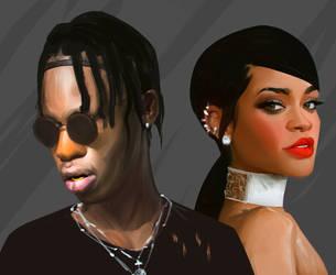 Travis Scott - Rihanna by DanarArt