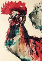 :ACEO: Fancy Chicken by CultistCarl