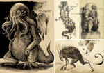 Sketchbook with mythos monsters