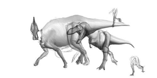 Tarbosaurus + Saurolophus WIP