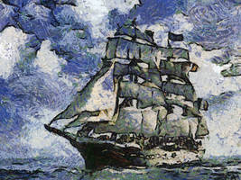 French Sailing Ship 3 by diverse-norm