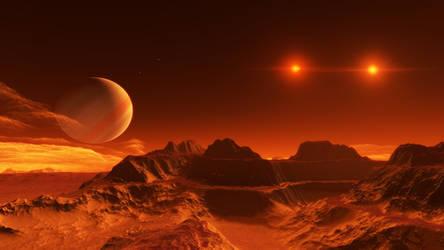 Exomoon of binary red dwarfs #1