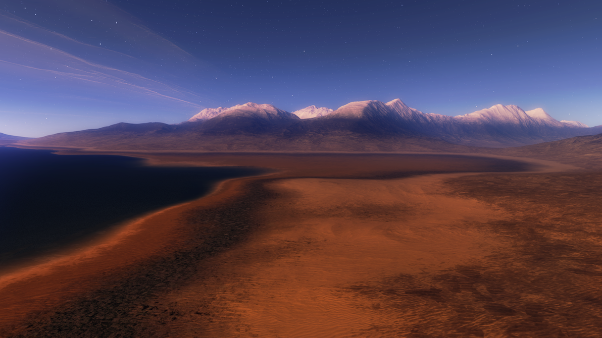Alien shores lit by a never setting sun by nirklars