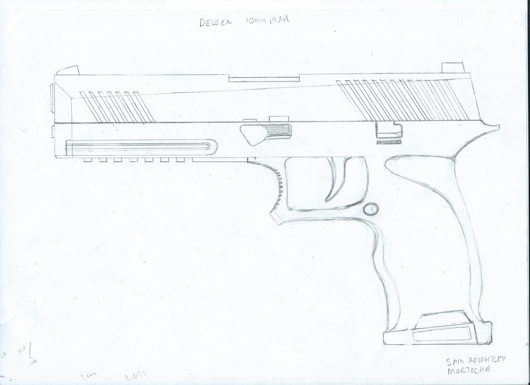 Deus Ex - 10mm Pistol Redesign Schematic by Mortecha