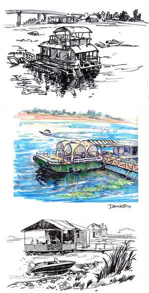 Wharfs on the Volga River