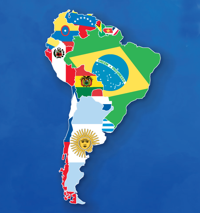South America Map And Flags: South America Map Of World At Usa Maps