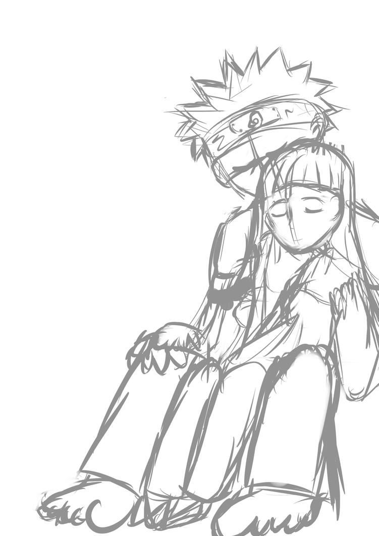Naruto and Hinata - Together (sketch) by NinjaXaro