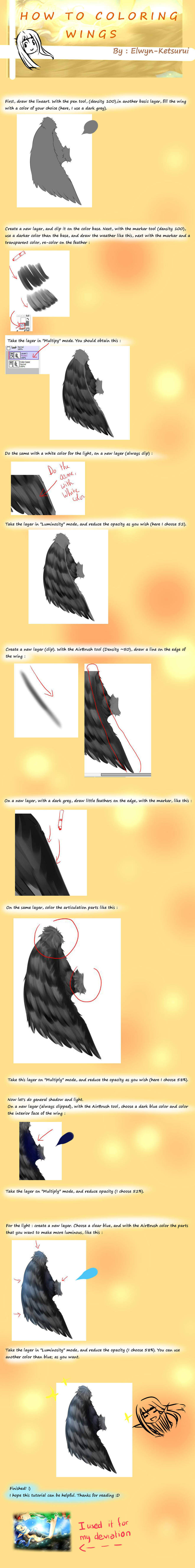 Tutorial : Coloring Wing with Paint Tool Sai by Elwyn-Ketsurui