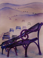 Landscape with benches by zzen