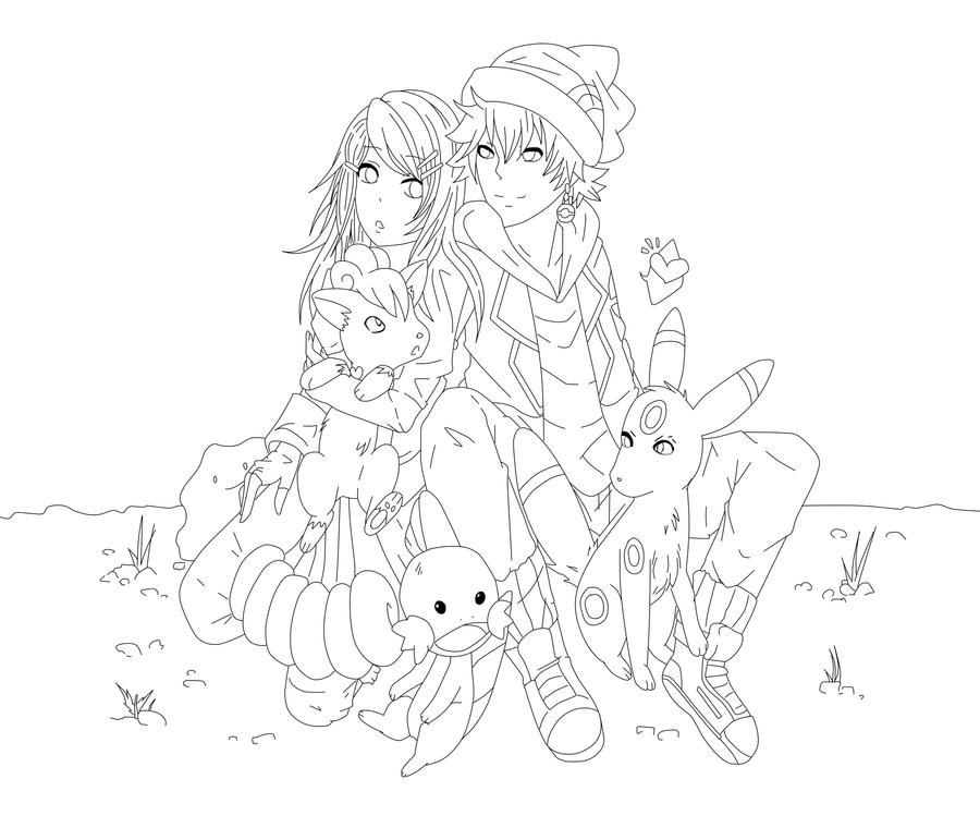 Line Art Couple : Pokemon couples lineart by jagglekinz on deviantart