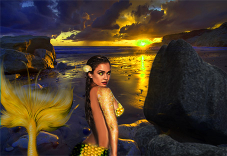 Yellow mermaid Done by FeatherlyWingZ by FeatherlyWingZ