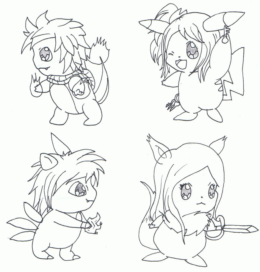 fairy tail x pokemon chibi set 1 wip by ryotsu san on deviantart. Black Bedroom Furniture Sets. Home Design Ideas