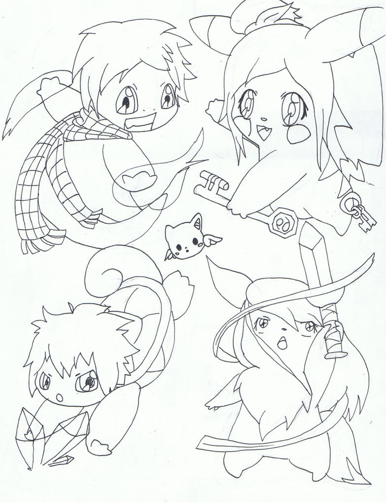 Fairy Tail Chibi Pokemon WIP 2 by Ryotsu-san