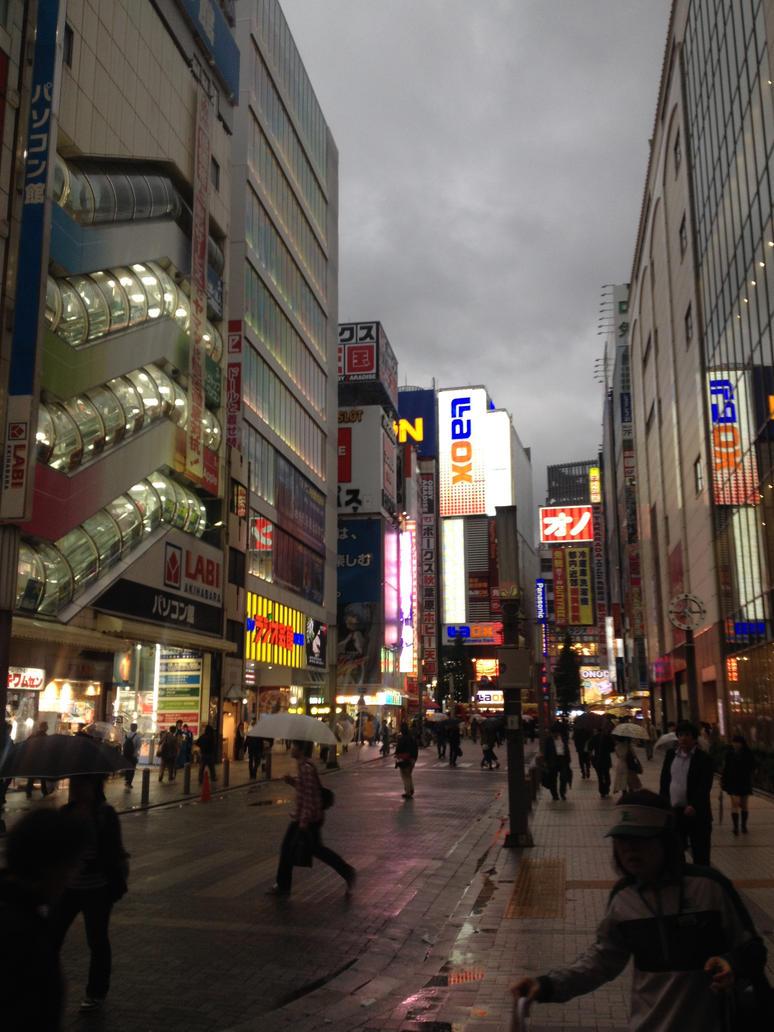 Bustling Akihabara by zoro-swordsman
