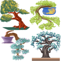 Bonsai Trees Icons Commission by Ukeaco