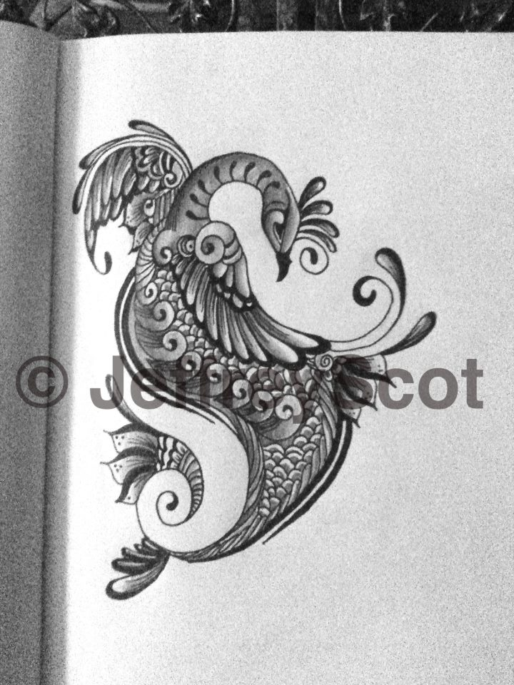 Organic peacock tattoo design by jeffreescot on deviantart for Peacock tattoo black and white