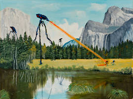 Tripods Land in Yosemite (Oil Painting) by Midnight-Vanburen