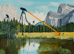 Tripods Land in Yosemite (Oil Painting)