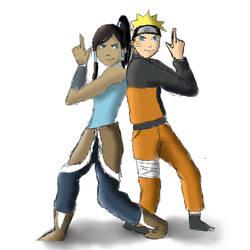 Naruto and Korra by MagicBells