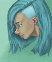 Girl with blue hair by MarTs-Art