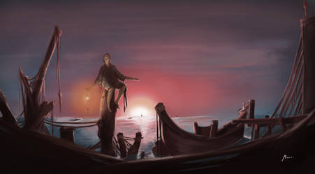 The Lonely Fisherman by MarTs-Art