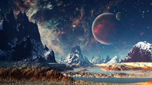 Red planet snow fantasy stars night stones 4k moon