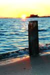 piling at sunset