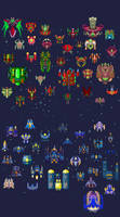 Spaceships: 60 by pixel-pax