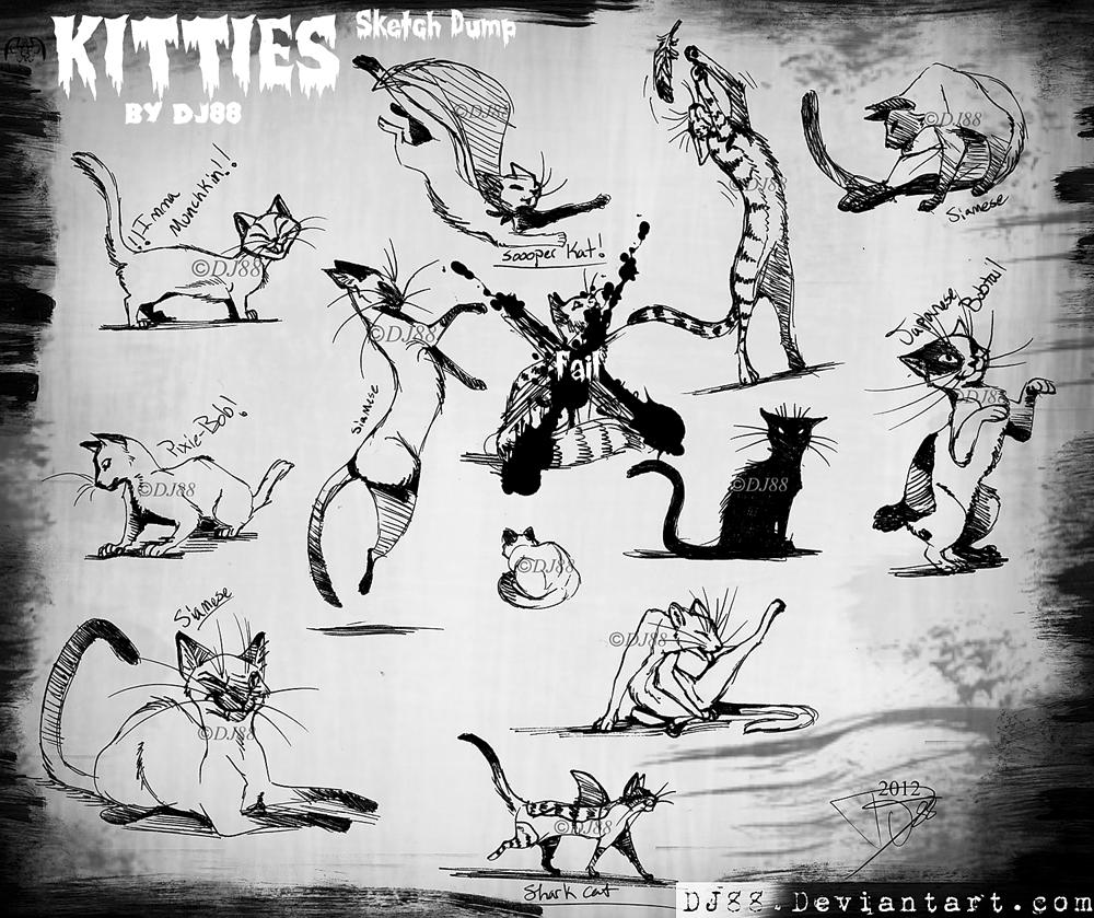 Kitties Sketchlings -art dump- by DJ88