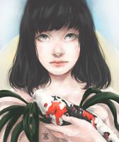portrait whit Koi by Naminamikiki