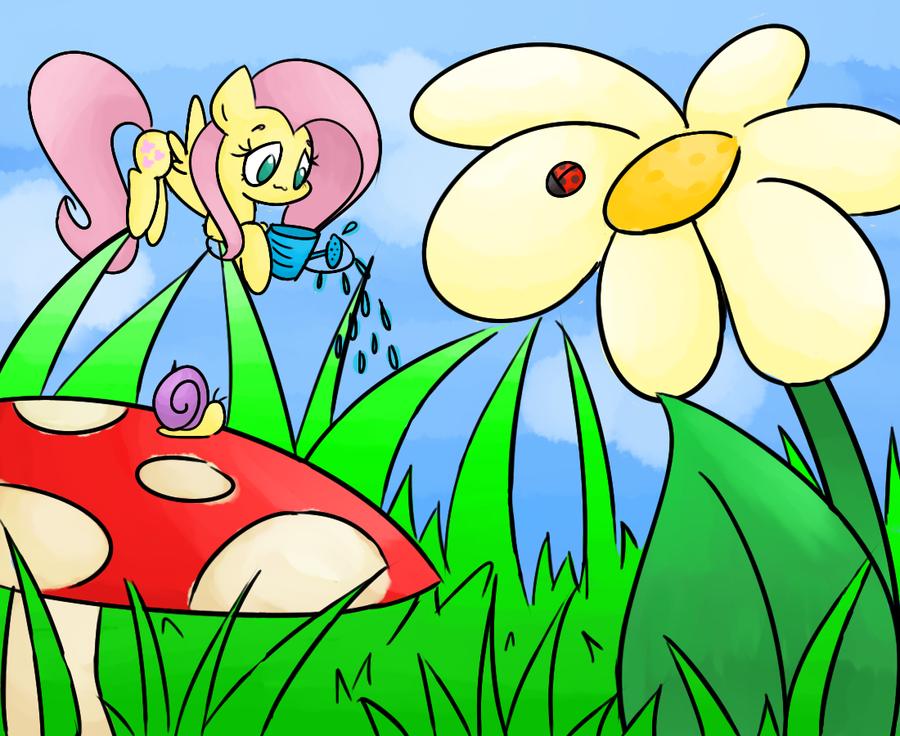 Fluttershy's garden by Lemon-Heartss