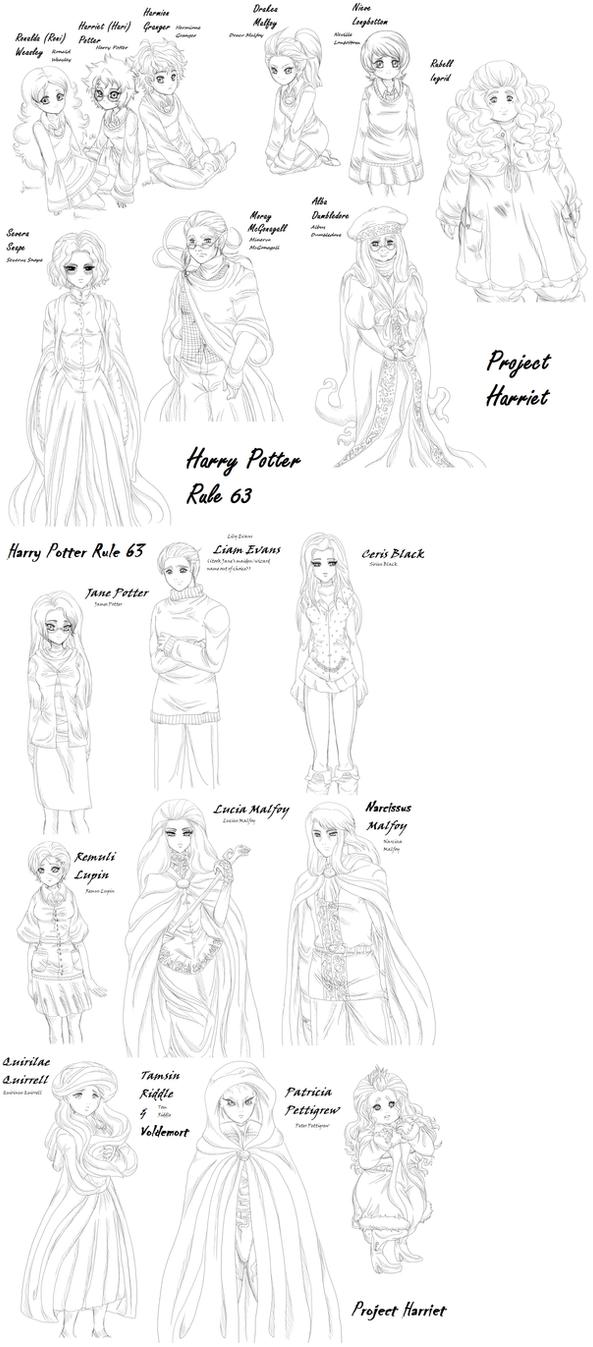 HP Genderbender: Doodle sheet2 by PritzPritz