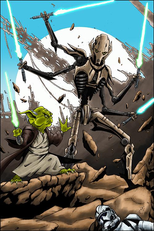 Yoda vs General Grievous by g45uk2