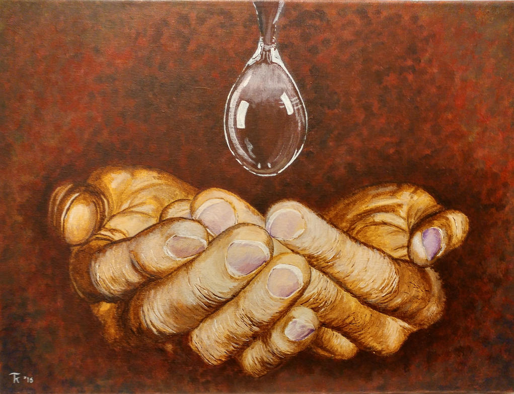 Hands with water drop, painted with acryl paint by Tonko100
