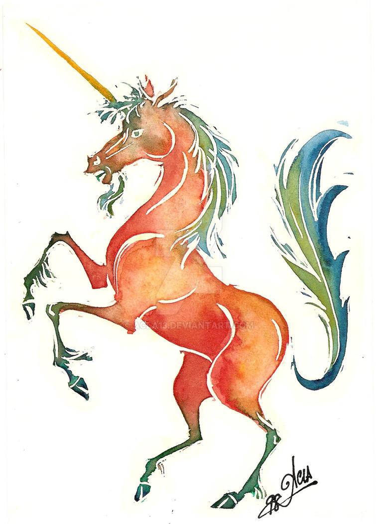 Orange Unicorn by acla13