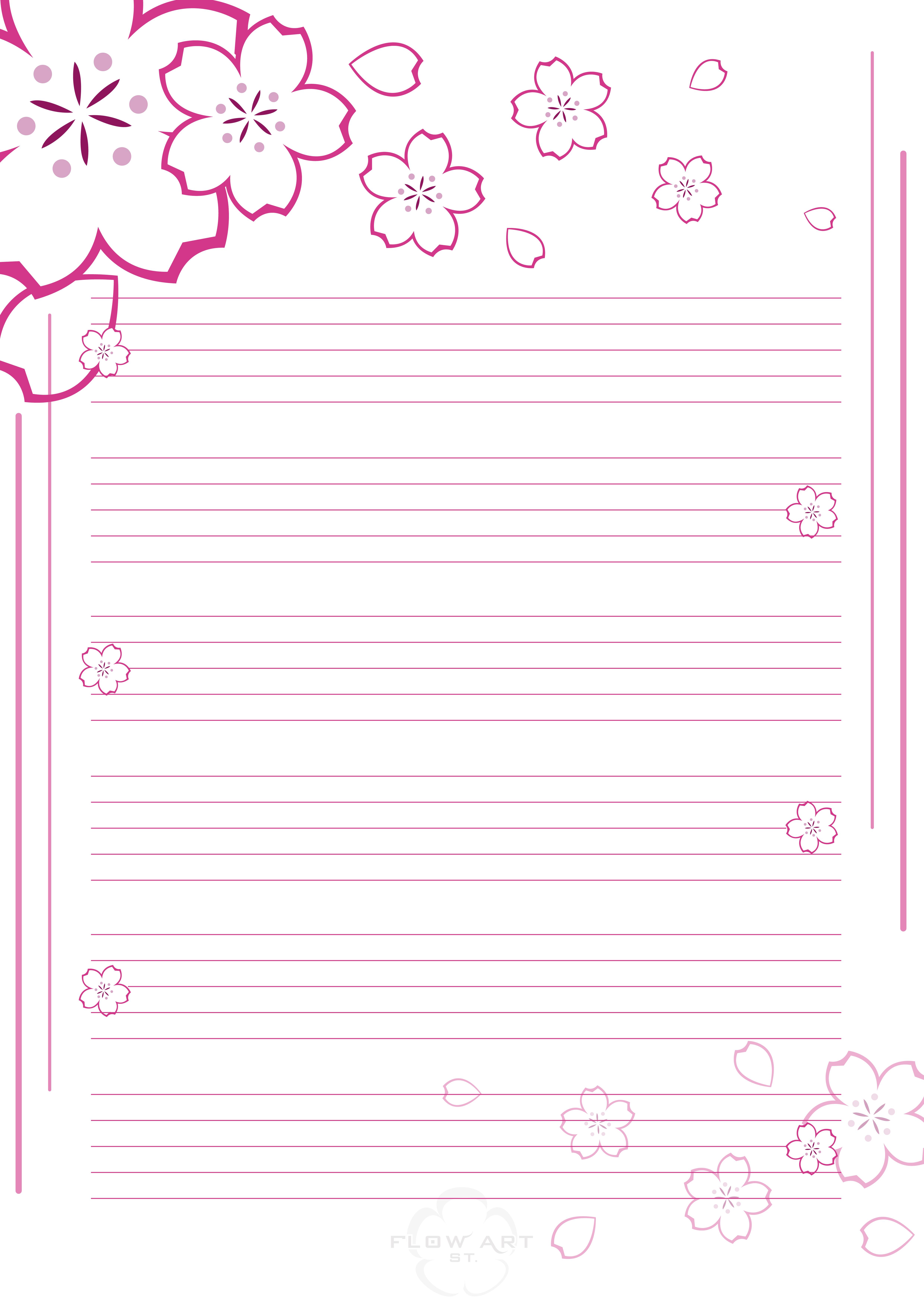 Sakura stationary by 3dera on deviantart for Paginas decoradas