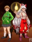 Chie Satonaka and  Fujiwara no Mokou -commission by GaboCaricaturas