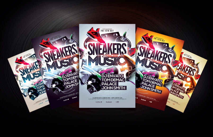 Sneakers and Music Flyer Template by Dannygdesigns