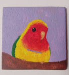 Lovebird acrylic painting on wood