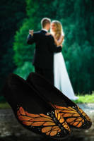 Monarch Butterfly Painted Wedding Shoes by LaPointeVArt