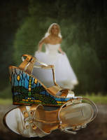 Dragonfly Painted Sandals for Spring Weddings by LaPointeVArt