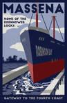 Massena Northern New York Seaway Travel Poster by LaPointeVArt