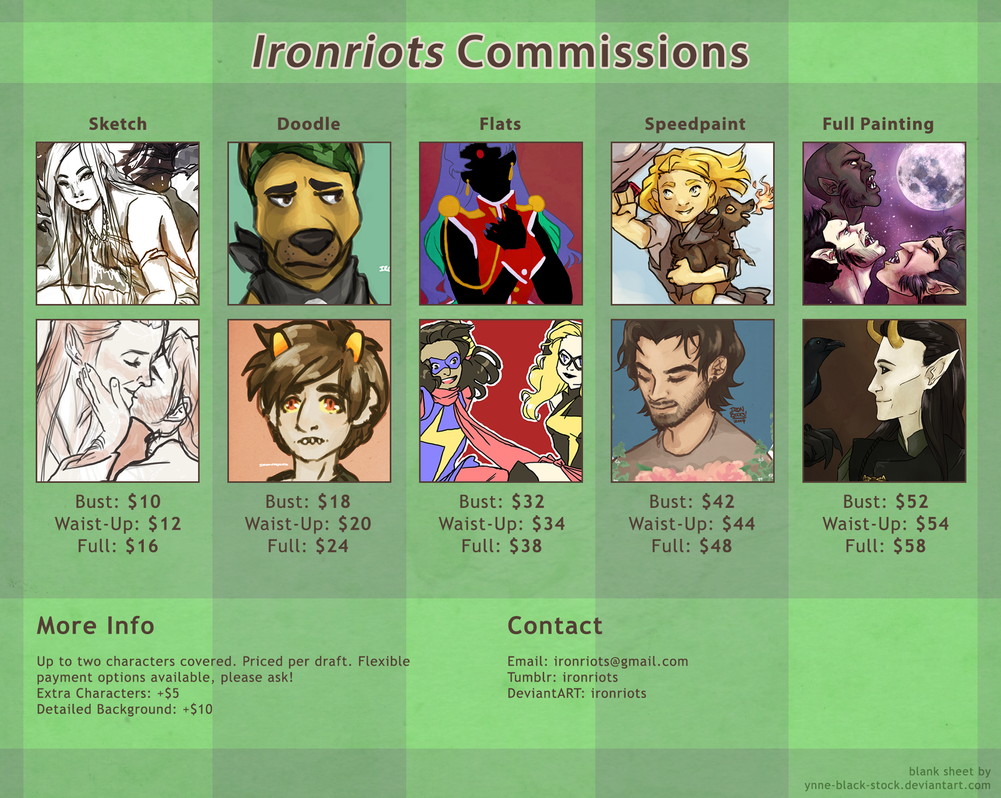 Commissions 2015! by Ironriots