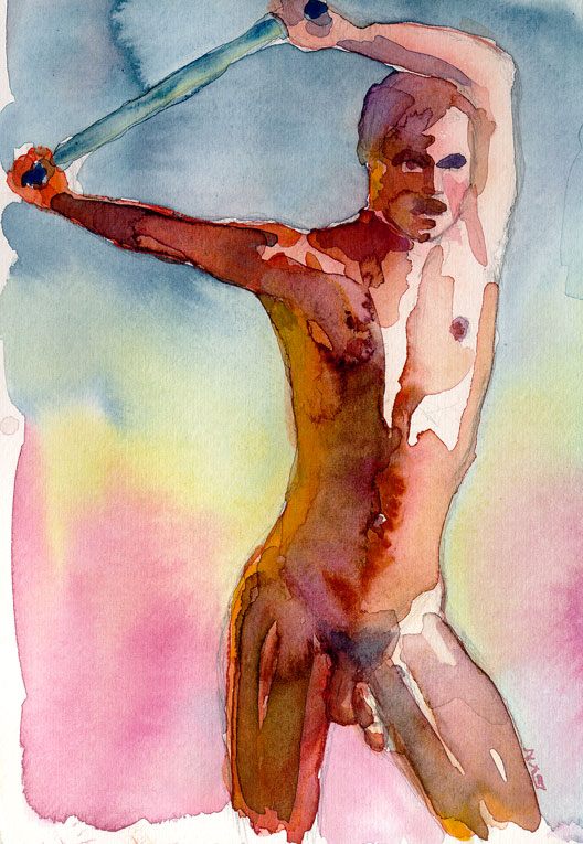 Watercolor nude figure by Erika Nelson